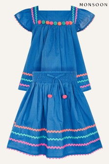 Monsoon Blue Fiesta Ricrac Top And Skirt Set