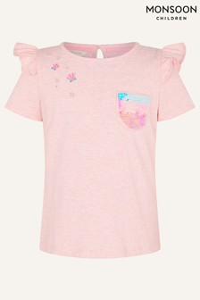Monsoon Pink Sequin Pocket T-Shirt