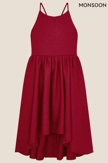 Monsoon Red Scuba High-Low Prom Dress
