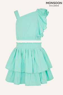 Monsoon Blue Frill Top and Skirt Set