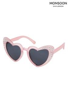 Monsoon Pink Heart Shape Sparkle Sunglasses
