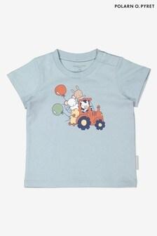 Polarn O. Pyret Blue Organic Cotton Tractor Print T-Shirt