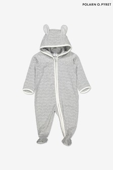 Polarn O. Pyret Grey Organic Cotton Velour All-In-One