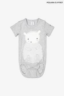 Polarn O. Pyret Grey Organic Cotton Lamb Appliqué Ribbed Babygrow