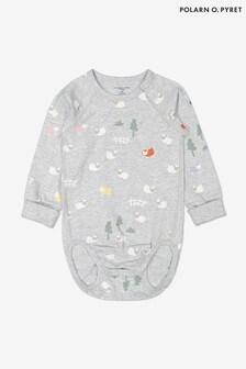 Polarn O. Pyret Grey Organic Cotton Little Lamb Babygrow