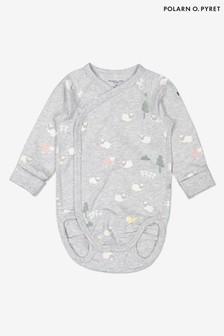 Polarn O. Pyret Grey Organic Cotton Little Lamb Wrap Babygrow