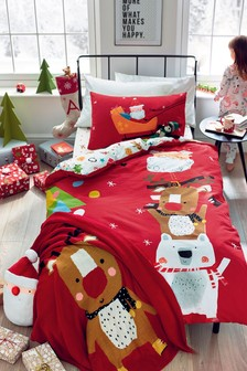 Santa And Friends Christmas Duvet Cover And Pillowcase Set
