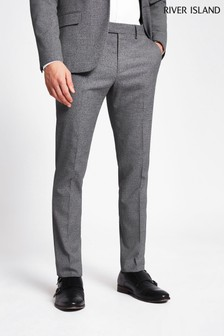 River Island Grey Skinny Suit Trousers