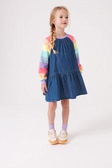 Rainbow Stripe Raglan Denim Dress (3-16yrs)