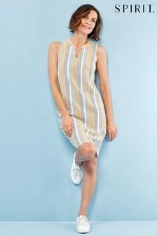Spirit Blue Stripe Linen Blend Shift Dress