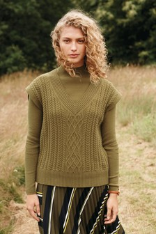 Khaki Green V-Neck Knit Layer Top