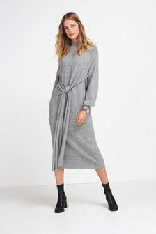 Grey Long Sleeve Tie Front Knit Dress