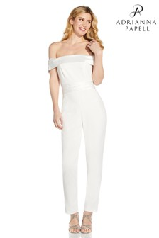 Adrianna Papell White Knit Crepe Jumpsuit