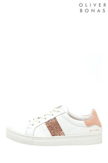 Oliver Bonas Pink Glitter Leather Trainers