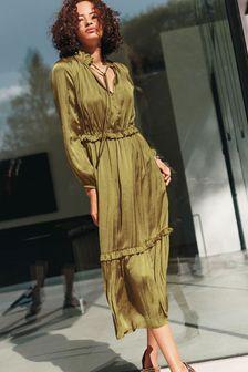 Khaki Green Satin Tie Neck Midi Dress