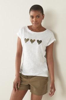 White Animal Heart Short Sleeve T-Shirt