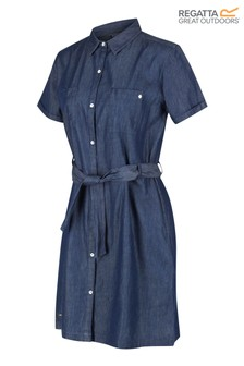 Regatta Blue Quinty Denim Look Tie Dress