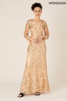 Monsoon Gold Ariana Sequin Fishtail Maxi Dress