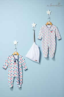 Baby Boys Bold Spot Sleepsuits 2 Pack