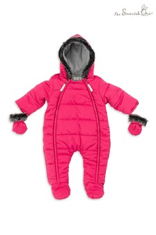The Essential One Pink Baby Girls Faux Fur Trim Snowsuit