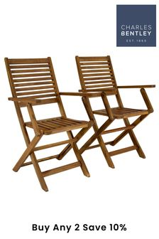 Foldable Outdoor Dining Armchairs By Charles Bentley