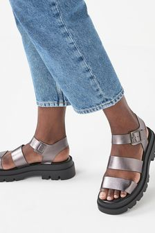 Pewter Chunky Three Strap Buckle Sandals