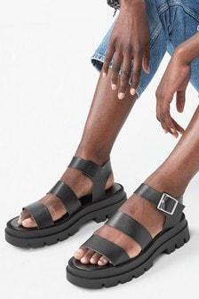 Black Chunky Three Strap Buckle Sandals