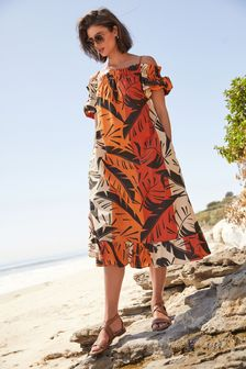 Red Palm Print Puff Sleeve Dress