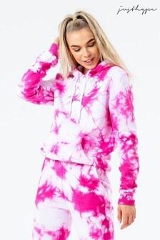 Hype. Pink Tie Dye Scribble Logo Women's Hoodie