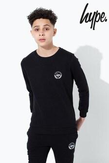 Hype. Black Crest Kids Crew Neck Sweatshirt