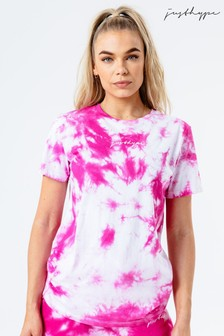Hype. Pink Tie Dye Scribble Logo Women's T-Shirt