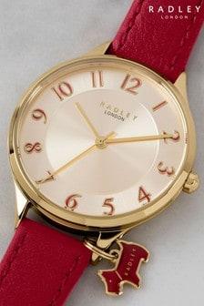 Radley Saxon Road Bright Red Leather Strap Watch