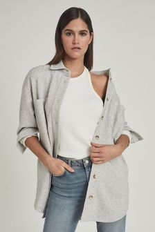 Reiss Grey Johannah Longline Jersey Overshirt