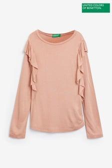 Benetton Pink Frill Sleeve Long Sleeve T-Shirt