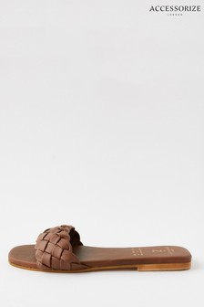 Accessorize Brown Plaited Strap Leather Sliders