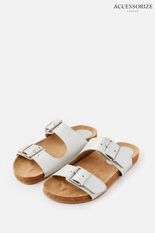 Accessorize Silver Buckle Footbed Leather Sandals