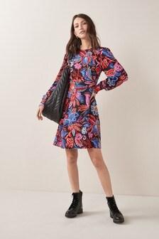 Black Paisley Print Tea Dress