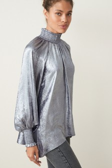 Silver Shirred Neck Long Sleeve Top