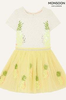 Monsoon Yellow Sequin Pineapple Disco Dress