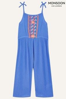 Monsoon Blue Embroidered Tassel Jumpsuit