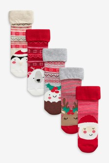 Red 5 Pack Christmas Character Socks