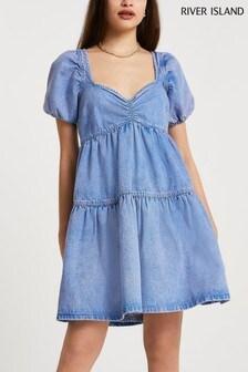 River Island Mini Denim Smock Dress