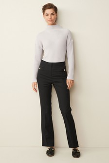 Black Texture Tailored Boot Cut Trousers