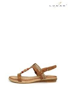Lunar Tan Alana Beaded Sandals