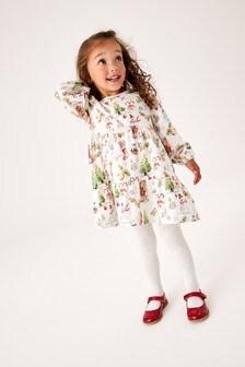 Ecru Christmas Character Jersey Tier Dress (3mths-7yrs)