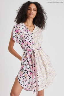 French Connection White Yulia Printed Shirt Dress