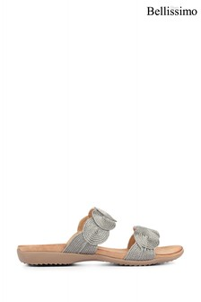 Bellissimo Pewter Metallic Ladies Mule Sandals