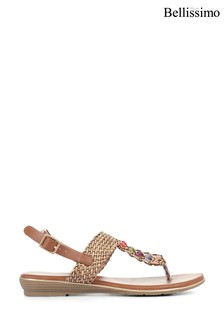 Bellissimo Camel Ladies Toe Post Sandals