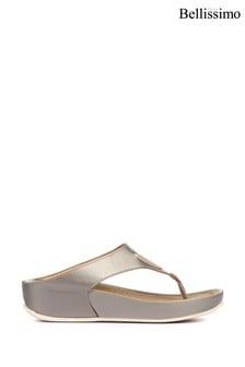 Bellissimo Pewter Ladies Wedge Toe Post Sandals