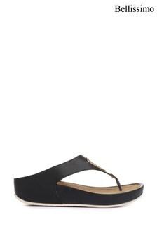 Bellissimo Black Ladies Wedge Toe Post Sandals